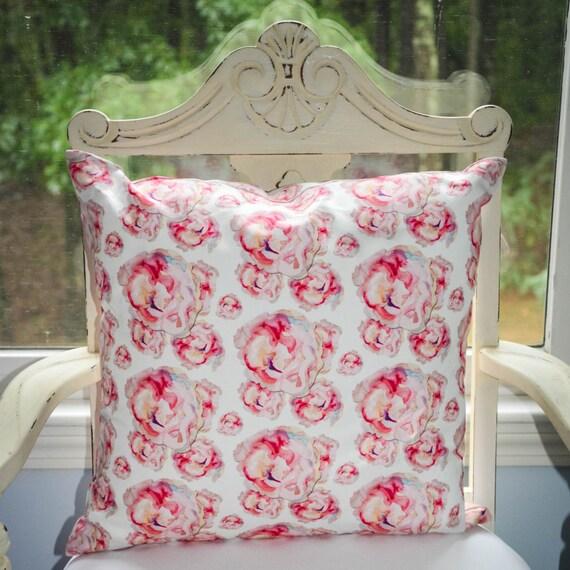 Indoor Throw Pillow Cover, Watercolor Roses brick repeat