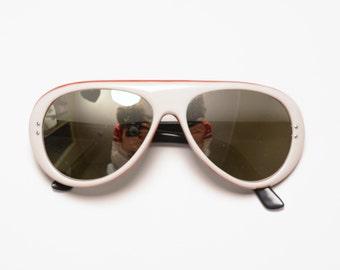 vintage 70s ski sunglasses red white blue mod 1970 mirror lens round white aviator sunglasses 1970s retro skiing