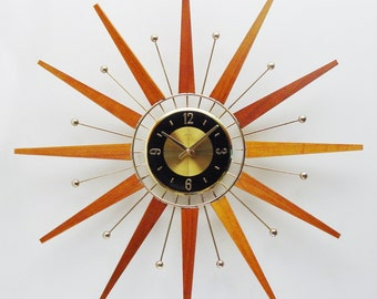 Starburst Clock by Welby, 1960s 1970s, Mid century modern sunburst clock, Atomic era clock