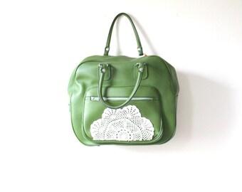 Vintage green lace doily bag // up-cycled bag  // boho overnight bag // luggage bag // lace crochet luggage bag // green large travel bag