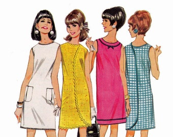 Wrap Around Dress Size 12-14 Medium Bust 32-34 1960s Vintage Sewing Pattern Wrap A Rounder Dress in 6 Versions McCalls 9119