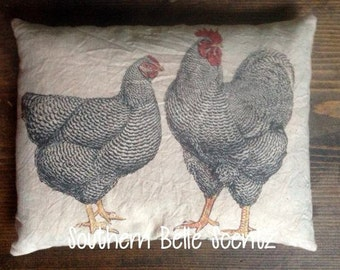 Rooster and Chicken Hen Feedsack Pillow