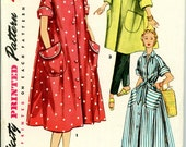 Vintage 1953 Robe, House, or Day Dress Sewing Pattern, Simplicity 4471, Size 20, Bust 38