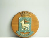 Vintage Gotland Sweden cast metal coat of arms on a round wooden plaque - Swedish heraldry decor