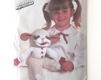 1980s LambChop Puppet Pattern by Shari Lewis, Simplicity 7989, 15 inch Lamb Puppet Sewing Pattern Childrens Hand Puppet Pattern UNCUT