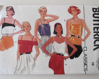 1980s Camisole Top Pattern Butterick 3193 Womens Sleeveless Top Blouse Sewing Pattern Misses Size 10 Bust 32.5 UNCUT