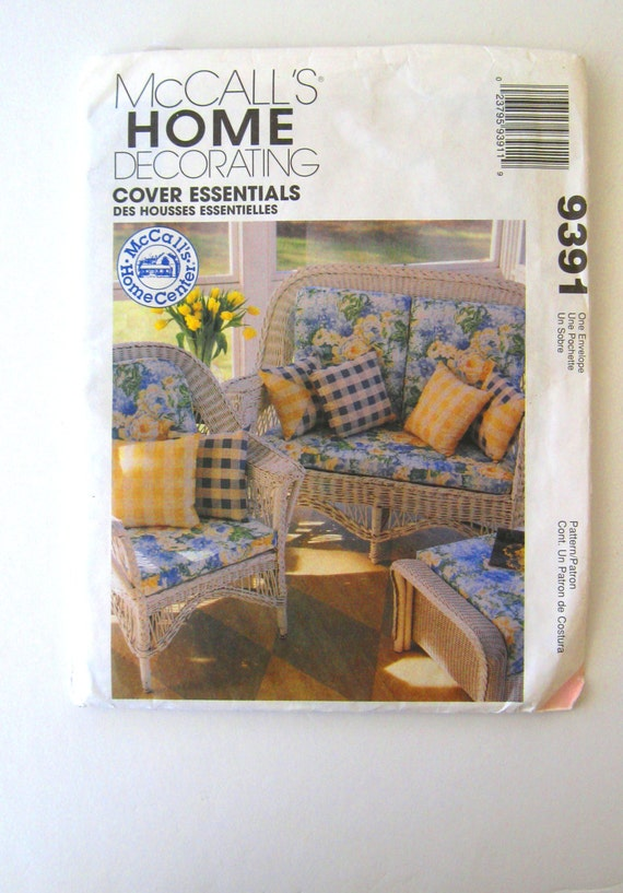 1990s Patio Furniture Cushion Cover Pattern Mccalls 9391 Chair