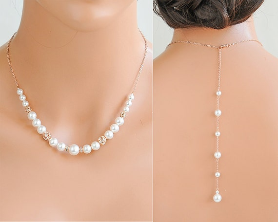 Simple Back Drop Necklace Pearl Back Necklace Sterling