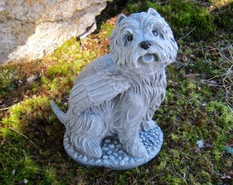 Westie Angel Garden Statue, West Highland Terrier Memorial, Cement Garden Dog, Painted Concrete Garden Decor