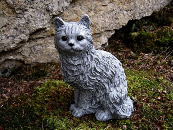 Cat statue Concrete cat figure Cement garden decor Statues of