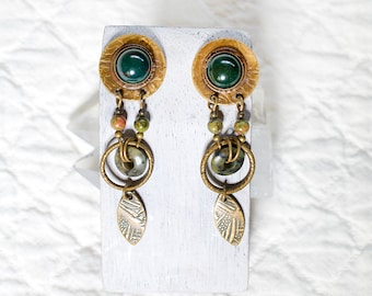 Vintage Brass Bloodstone Leaf Jade 80s Dangle Earrings Avant Garde