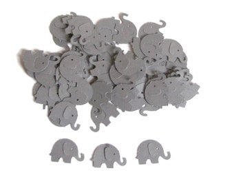 50 Grey Elephant Hand Punched, Die Cut Embellishments, Confetti-Ready To Ship