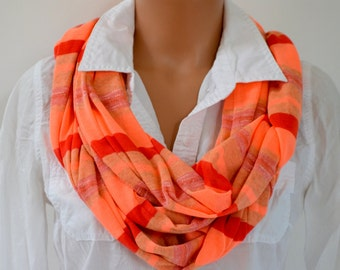 Scarf Neon Orange Thin Sweater Scarf Infinity Scarf Neck Warmer Extra Long Circle Scarf Winter Scarf Unisex Peach Striped Warm Color