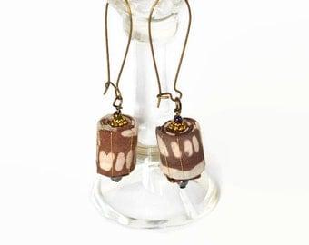 boho tribal earrings, textile jewelery, textile beads, hippie festival earrings, dangle earrings, ooak, ethnic style, batik jewelery,