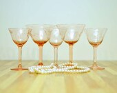 Vintage Pink Wine Glasses Set of Five Assortment White Wine Sherry Dessert Wine Stemware Etched Glass Leaf Floral Design 1950's Glass