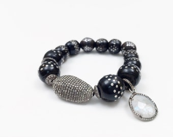 RARE Black Coral Yemen Prayer Beads, Tahitian Pearl, Pave Diamond Beads Bracelets
