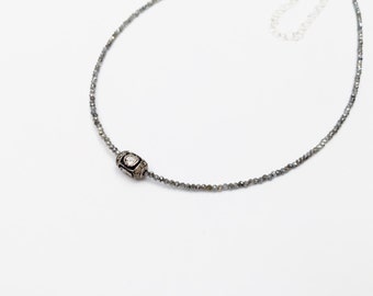 Rose Cut and Pave Diamond Bead Necklace with Mystic Labradorite Beads