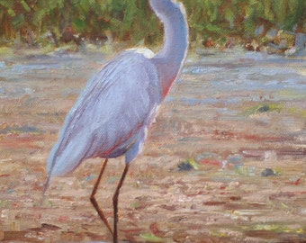 Egret at Sunset (original oil painting)
