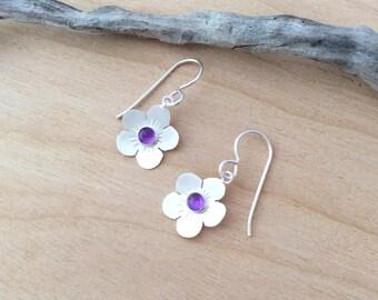 Amethyst Flower Earrings, Argentium Silver Flowers
