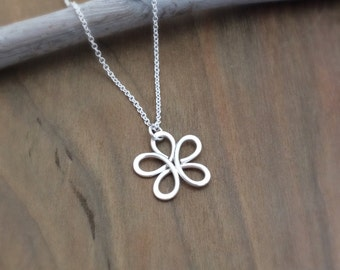 Small Silver Flower Pendant, Argentium, Necklace
