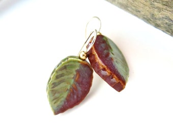 Pottery Leaf Earrings, Ceramic Leaves, Sterling Silver, USA Artisan Made, Gifts Under 20 Fall Leaf Jewelry, Green Earrings, Autumn Earrings