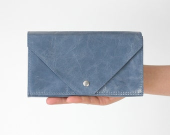 Clutch Wallet Dusky Blue, secretary wallet, big leather wallet, envelope clutch, large wallet