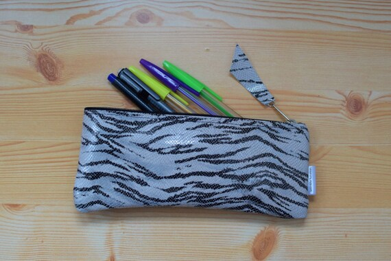 Leather pencil case,leather pencilcase,leather zebra,zebra pencil case,black pencil case,leather case,leather coin purse,zebra case