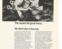 1971 Advertisement Nikkormat Camera Nikon Film Camera 35mm FTN Lovers 70s Fashion Style Photography Studio Office Wall Art Decor