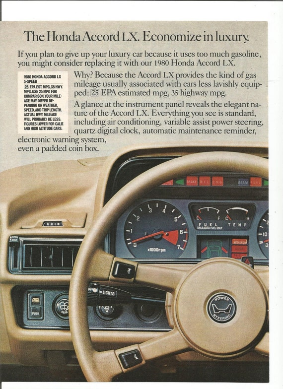 1980 Advertisement Honda Accord LX Dash Dashboard by fromjanet