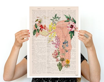 Flowery uterus collage -Woman gift - Feminist art Anatomical  Pregnancy gift, Giclee poster gifts for her SKA111PA3