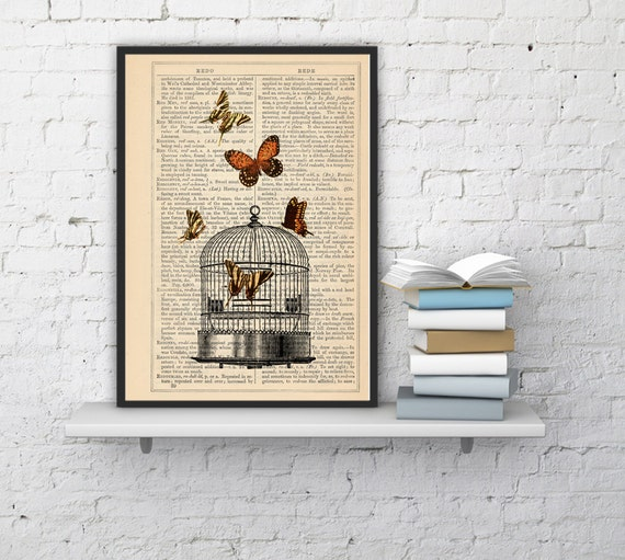 Summer Sale Release the Butterflies n04 Cage collage Print on Vintage Dictionary  page - book art print BFL017
