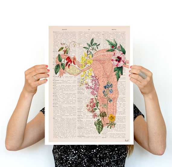 Christmas Sale Flowery uterus collage -Woman gift - Feminist art Anatomical  Pregnancy gift, Giclee poster gifts for her wall art, SKA111PA3