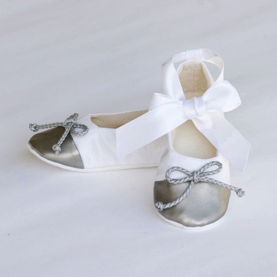 white satin baby shoe silver capped toe toddler by babysouls