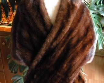 Beautiful dark mink fur cape / stole / wrap