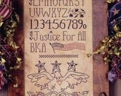 Justice For All : Blackbird Designs counted cross stitch patterns Americana primitive USA sampler Eagle flag 4th of July embroidery