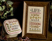 NEW Life Is Better With Stitching Friends Boxer Kit INCLUDES fabric buttons + Bonus : Lizzie Kate cross stitch patterns