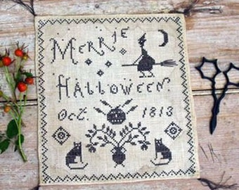 Merrie Halloween : Pineberry Lane counted cross stitch patterns October witch broomstick harvest Autumn primitive black cat hand embroidery