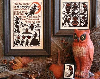 Sweeping Cobwebs Book No. 165 Halloween cross stitch pattern by Prairie Schooler at thecottageneedle.com witches pumpkin