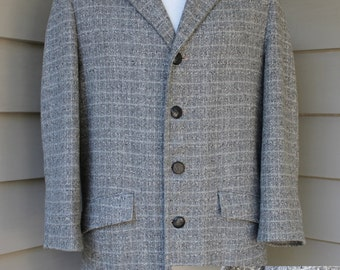 vintage 1950's -Hall American Sportswear- Men's car coat. Atomic fleck on Dove Gray. Heavy wool shell - Insulated. Size 36 -38