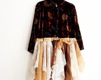 Bohemian Floral Velvet Duster. Tattered Velvet Dress