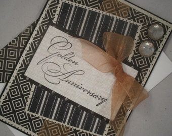 50th Wedding Anniversary Card, Golden Anniversary Card, Handmade Anniversary Card, Anniversary, 50th
