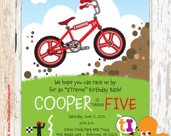 BMX, Bike, Birthday, Party, Invitations, Boys