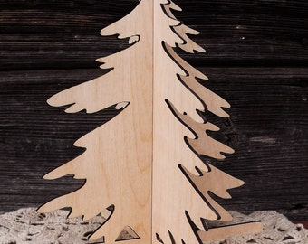 Wood Christmas tree home decoration for holidays and X-mas