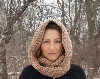 Beautiful knit seed stitch infinity scarf and cowl!