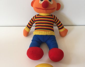 Vintage Knickerbocker Toy Company Stuffed Plush Sesame Street Muppets Ernie Doll