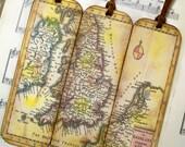 Scotland, Kingdom of England, Wales, Ireland, Netherlands Historical Map Bookmarks Set of 3 Old World 1706 Map, History Lovers' Map Gift