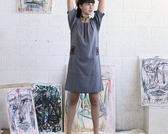 Embroidered Dress, Grey Midi Dress, Grey Casual Dress