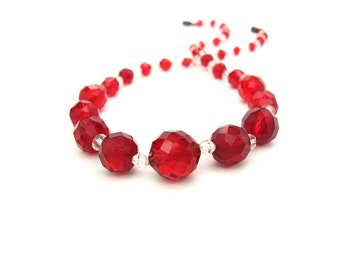 Glass Bead Necklace. Czech Glass Beads. Choker Length. Cherry Red Round & Bicone Crystals, Glittery. 1930s Vintage Art Deco Jewelry.