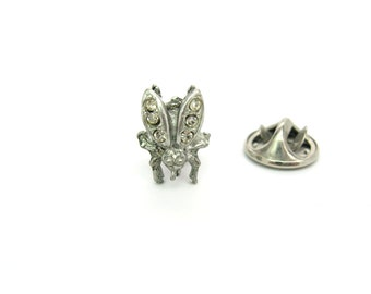 Mens Tie Tack. Insect Jewelry. Tiny Rhinestone & Pot Metal Fly. Hat or Lapel Pin. Art Deco Tie Tac. Vintage 1930s Beetle Bug Accessory