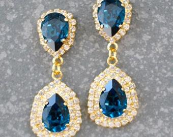 Navy Blue Earrings Chandelier Rhinestone Bridal Bride Wedding Jewelry Swarovski Crystal Diamond 18k Duchess Hourglass Stud Post Mashugana